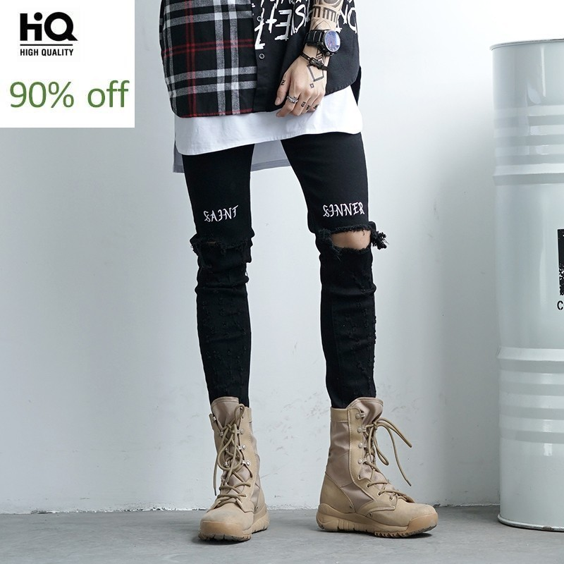 2020 New High Street Black Hole Ripped Brand Jeans Men Letter Slim Thin Rock Pencil Pants Cowboy Streetwear Male Jeans Trousers