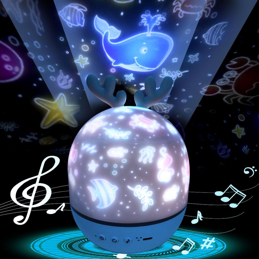 Ночник проектор Звездное небо Ночной Светильник проектор Спальня Декор Bluetooth вращающаяся музыка Детский Светильник подарок для детей…
