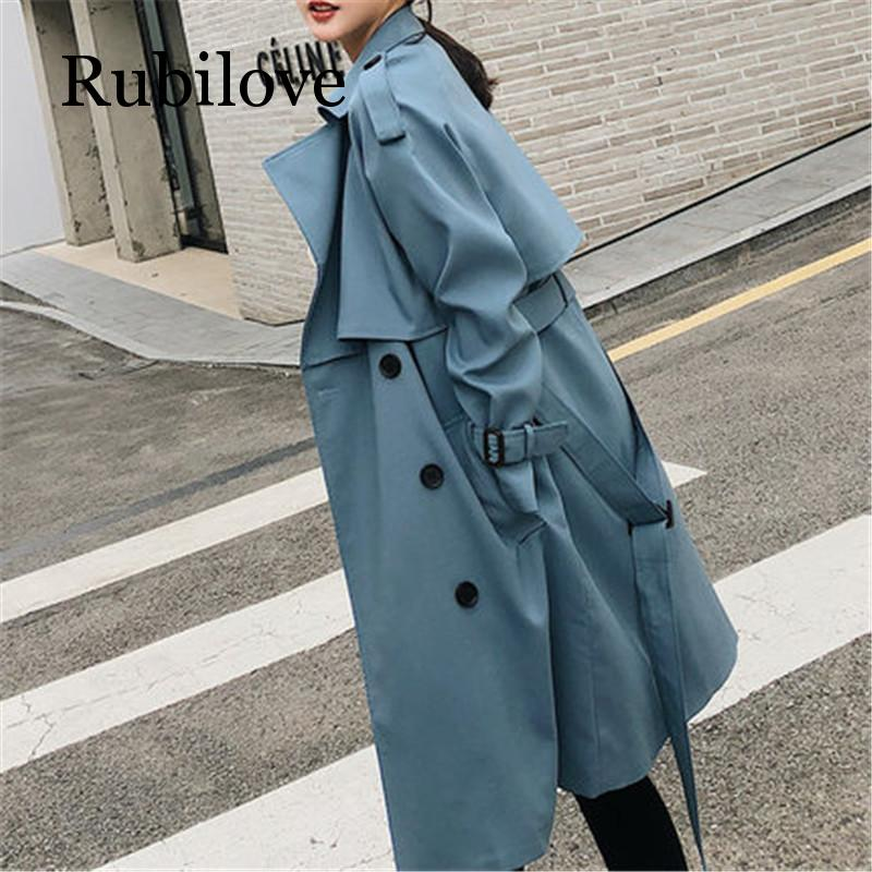 Rubilove Windbreaker Female 2019 Spring Autumn new Korean leisure loose ladies harbor wind Long   Trench   Coat for women blue