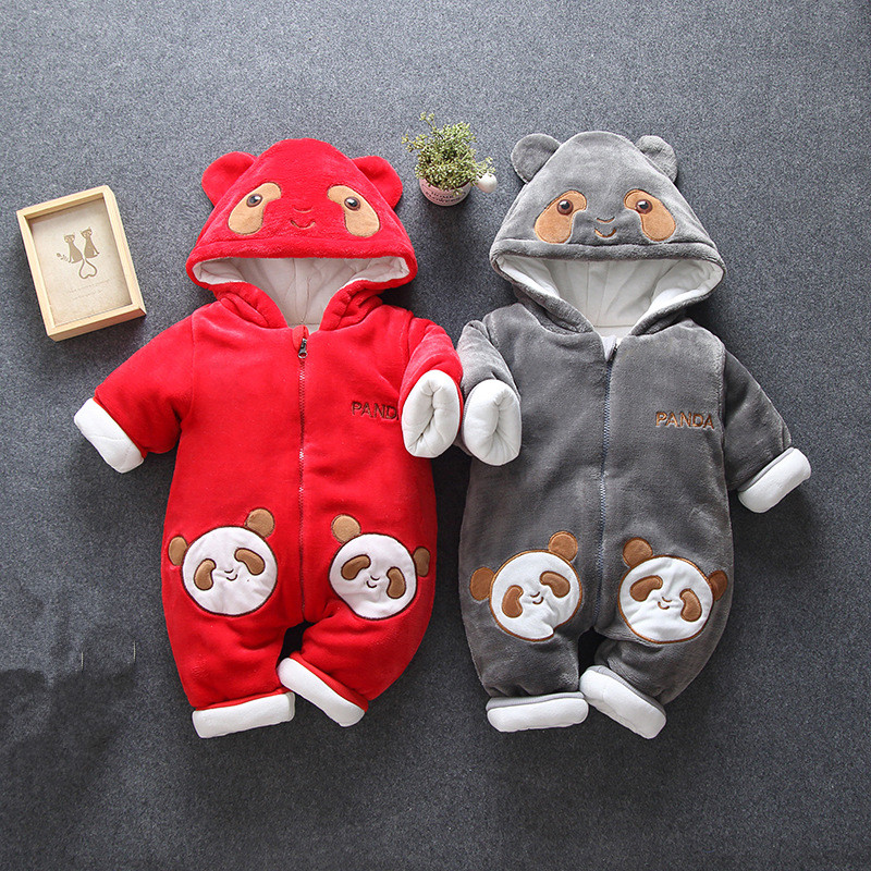 2019 Winter Baby Rompers Overalls for Newborn Clothes Cartoon Baby Jumpsuit Thick Warm Coat Baby Girl Boy Romper Infant Clothing