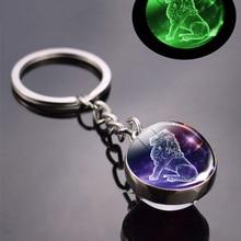 Zodiac Keychain Glass-Ball-Pendant Birthday-Gift Glow-In-The-Dark 12-Constellation Women