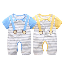 Newborn Summer Baby Boy Romper Short Sleeve Cotton Infant Ju