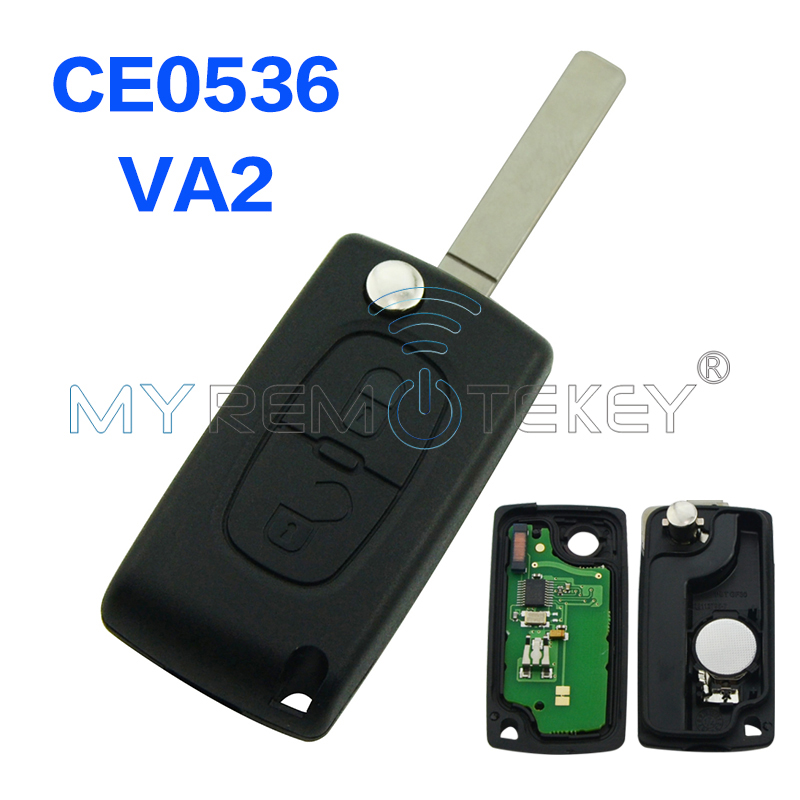 CE0536 207 307 <font><b>308</b></font> car Flip remote <font><b>key</b></font> 2 Button 434mhz VA2 <font><b>key</b></font> blade for <font><b>Peugeot</b></font> remtekey image