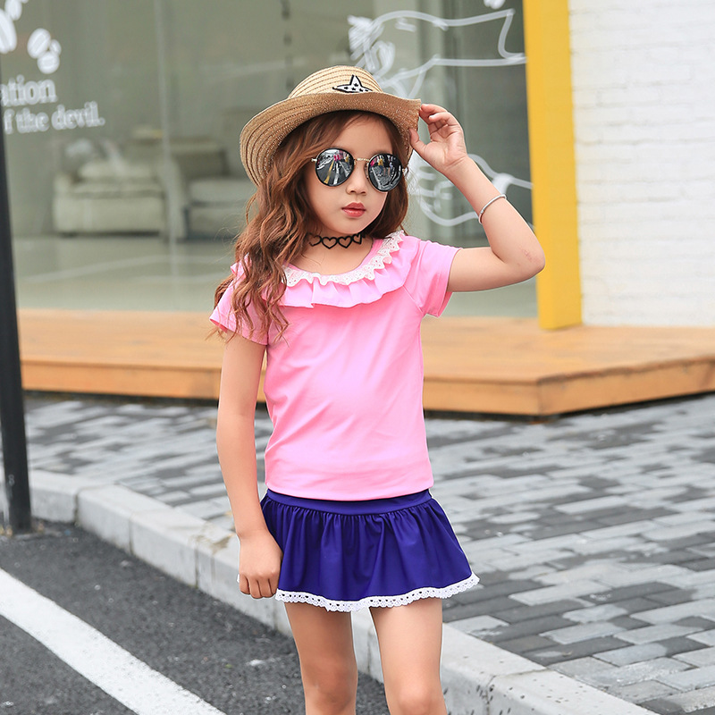 South Korea New Style Children Middle And Large Girls Split Skirt-Students Boxer Hot Springs Students Swimming Suit