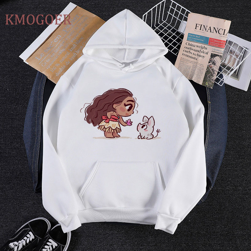 Princess Moana Mermaid Ariel Elsa Womens Hoodies Pullover Streetwear Pink Long Sleeve Harajuku Hoodie Womens Clothing Sweatshirt