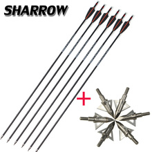 Archery 6pcs spine 400 Carbon Arrow And Broadhead Arrowhead Set Outdoor Hunting Shooting Bow Accessories
