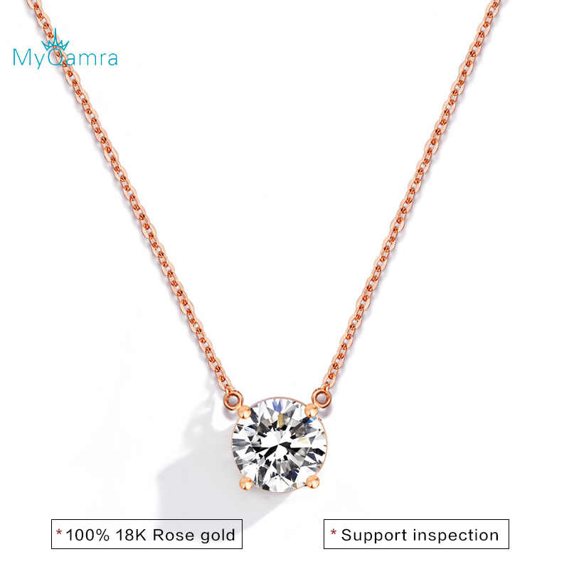 MYQAMRA 18k Pure Gold Simulated diamond  Necklace Pendant Female Clavicle Chain AU750 Valentine's Day Gifts Gift Jewelry