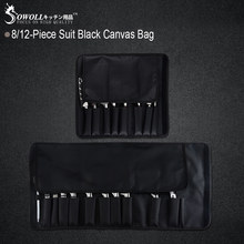 Sowoll Chef Knife Bag Roll Bag Carry Case Bag Kitchen Cooking Portable Durable Storage Pockets 8 Piece Black(China)