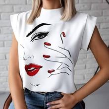 2020 году женщины губ печать блузка рубашки лето свободного покроя пуловеры стенд шеи топы дамы мода мило с коротким рукавом тонкий глаз
