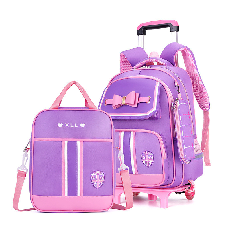 2 wheels Removable Children School Bags for Girls School Backpack With Wheel Trolley Backpack Kids Luggage Bag Travel Backpack School Bags  - AliExpress