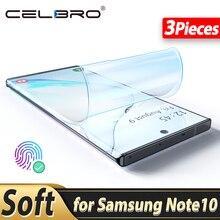 Değil temperli cam yumuşak ekran koruyucu Samsung Galaxy Not için 10 artı Not 10 + Note10 S10 artı S10 + hidrojel filmi koruyucu