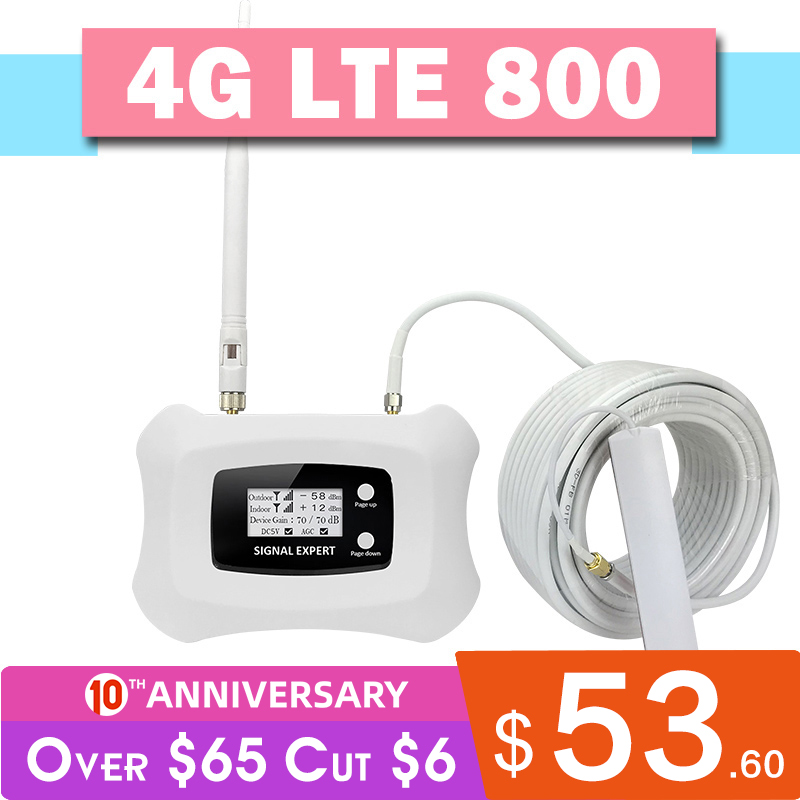 Walokcon 4G LTE 800 Signal Repeater Band 20 Fast 4G Network 800mhz Mobile Signal Booster 70dB Gain LCD Display 4G Amplifier Kit
