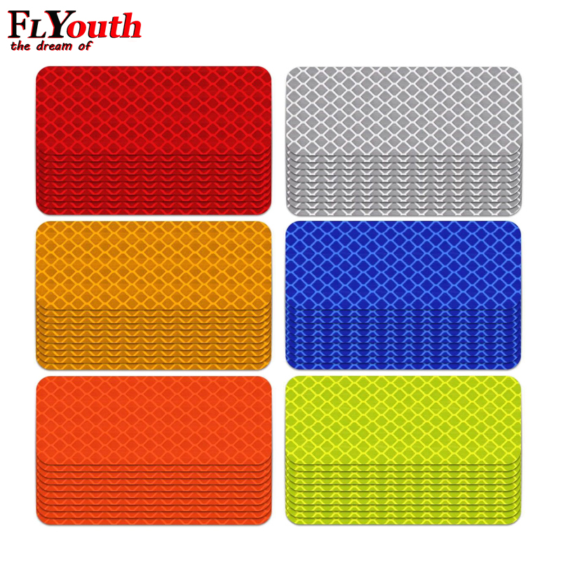 10Pcs 3X8cm Reflective Warning Strip Tape Car Bumper Reflective Strips Secure Reflector Stickers Decals Car Styling