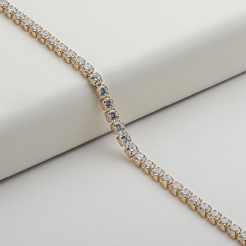 "AINUOSHI 14K Yellow Gold 2.1mm Round Cut SONA Diamond Trendy Tennis Bracelet for Women Hip Hop 1 Row Charm Bracelet Jewelry 7"" 3"