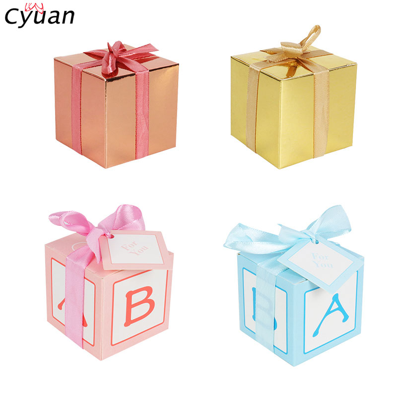 Cyuan 5x5x5cm Mini Gift Box Baby Shower Decorations Candy Box Paper Box For Kids Birthday Wedding Party Favor Cookie Candy Boxes