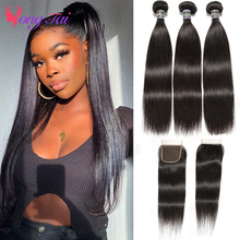 YuYongtai Indian Bone Straight Bundles with 4x4 Lace Closure 100% Human Hair Double Weft Weave Bundles Non-Remy Hair Extensions