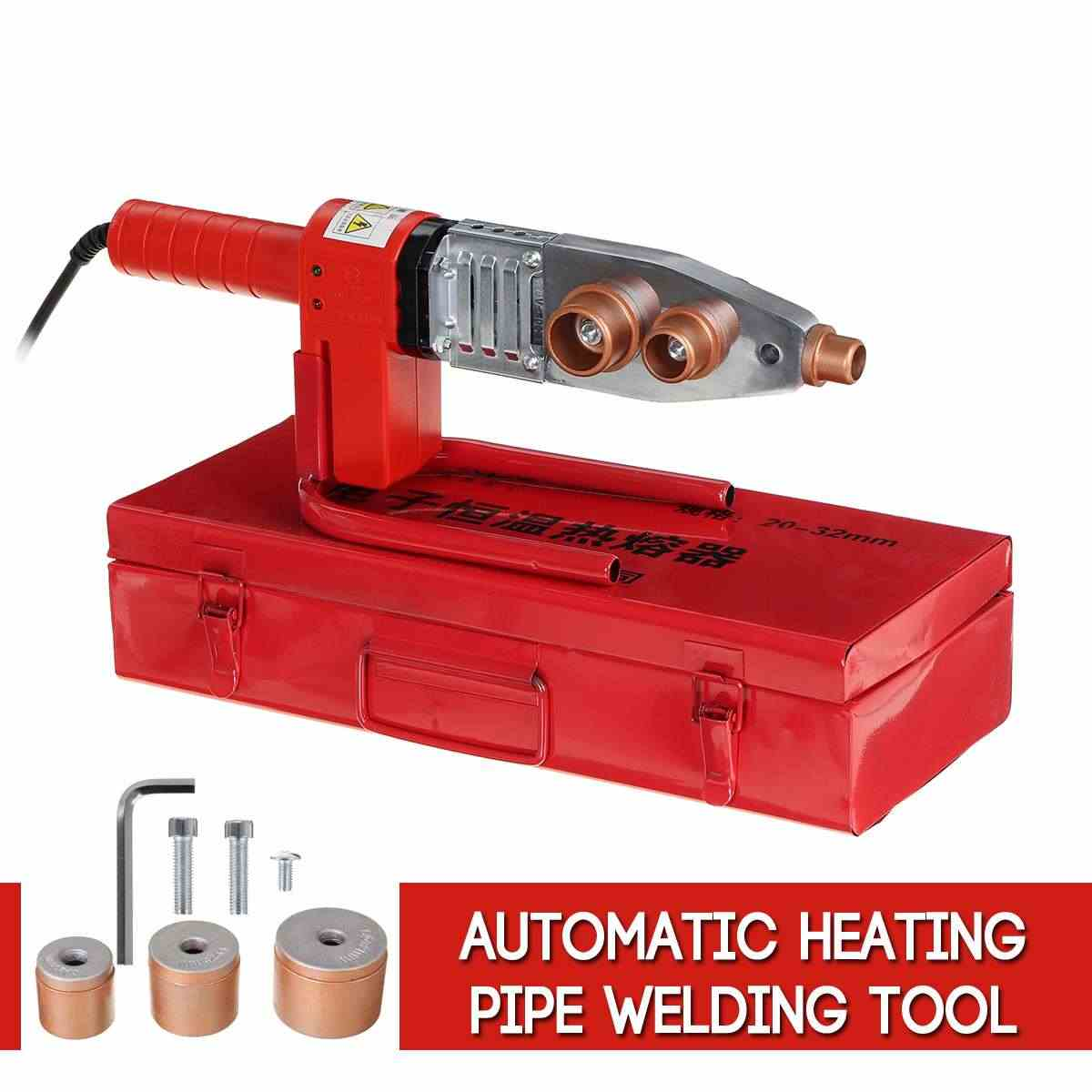 Full Automatic PPR Pipe Welder 220V Digital Temperature Controlled Water Pipe Welding Machine Electric Heating Hot Melt Tools Kit for PP PE PVC Tube,1000W