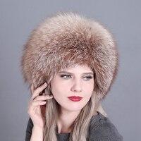 Genuine Fox Fur Hats Women Real Fur Bomber Hat for Russian Women Fashion Princess Cap With Natural Rex Rabbit Fur Top