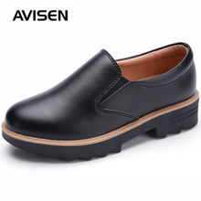 2019 British Style Woman Leather Shoes Woman Genuine Leather Slip-on Thick Bottom Flat Platform Shoes Autumn Causal Oxfords Shoe