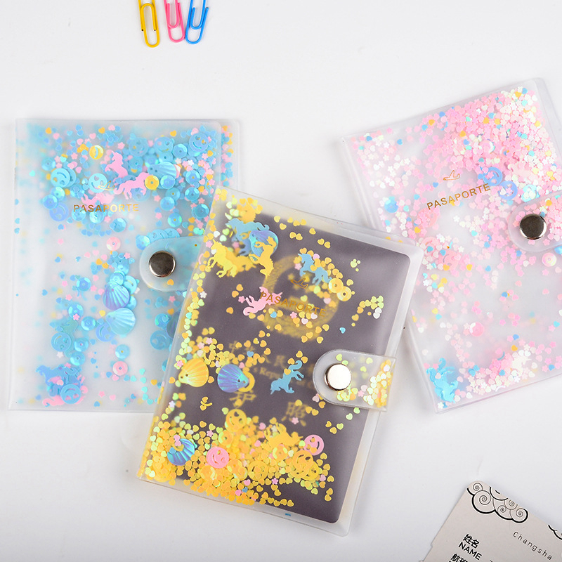 Fashion Sequin Passport Covers Travel Accessories ID Bank Credit Card Bag Passport Business Holder Men Women PVC Wallet Case