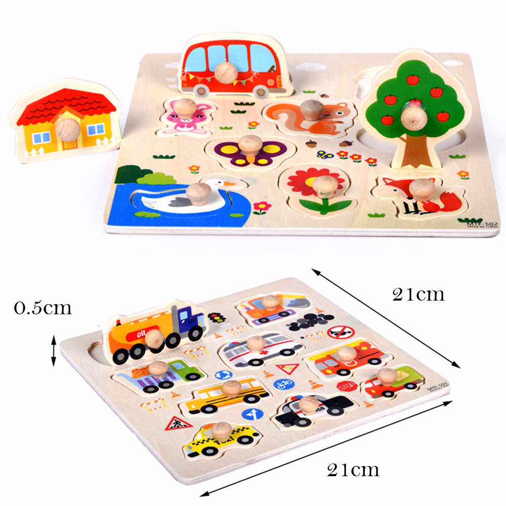 9 Piece Wooden Animal Puzzle Jigsaw Early Learning Baby Kids Educational Wood Puzzles For Kids Cartoon Animal Children Gift 2019
