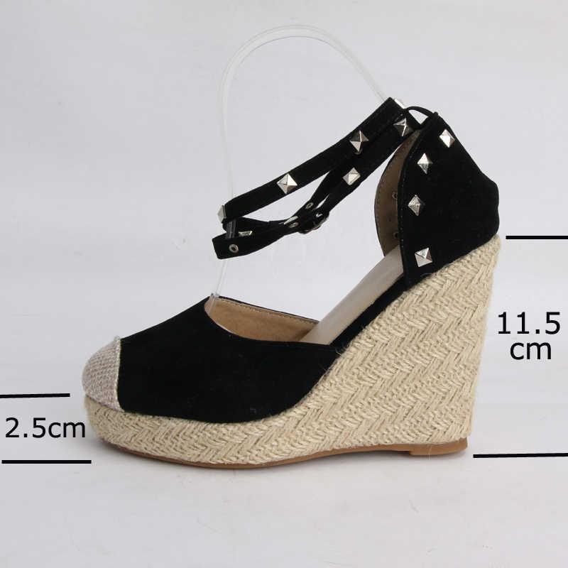 2020 yaz yüksek topuklu kadın sandalet perçin Espadrille platformu takozlar topuk ayak bileği kayışı ayakkabı Bohemia sandalet büyük boy 34-43