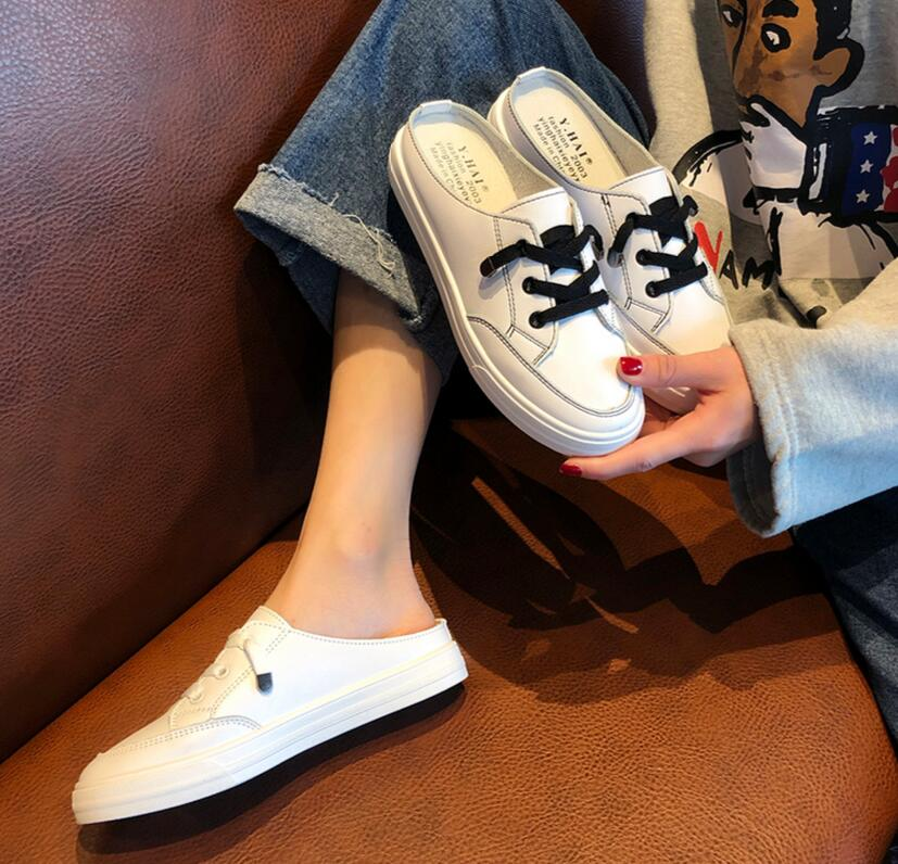 2020 New Classic Shoes Women's Shoes Half Support Lazy Shoes No Heel Half Slippers Female Students Single Shoes