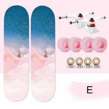 Double-Vertical Four-Wheel Deck Long-Board Bamboo New Pink Series 80--20cm
