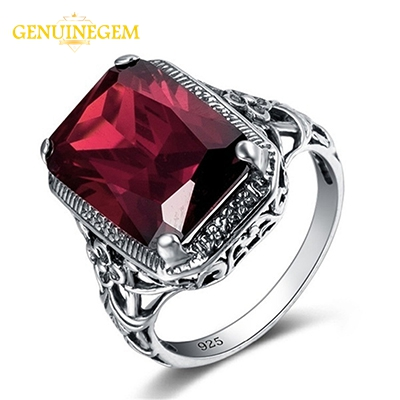 GENUINEGEM High Quality Red Ruby Silver 925 Jewlery Rings For Women Wholesale Gemstone Ring Party Anniversary Gifts Size 6-10