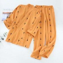 Женский пижамный комплект из 2 предметов, мягкая пижама из 100% хлопка с длинными рукавами и v образным вырезом и принтом моркови, кимоно