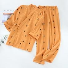 New 100% Cotton Crepe Women Long Sleeved Trousers Pajama Set V Neck Carrot Printing Pajamas Kimono 2 Piece Soft Household Suit