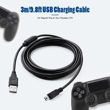 3m/9.8ft USB Charging Cable with Magnetic Ring for PS3 Wireless Controller USB Charger for Sony Playstation PS3 Accessories 3m extra long micro usb charger cable play charging cord line for sony playstation ps4 4 xbox one wireless controller black