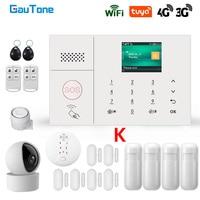 GauTone 3G 4G Wireless Alarm System WiFi Home Security System Mit IP Kamera Rauchmelder Unterstützung Alexa Tuya smart Leben