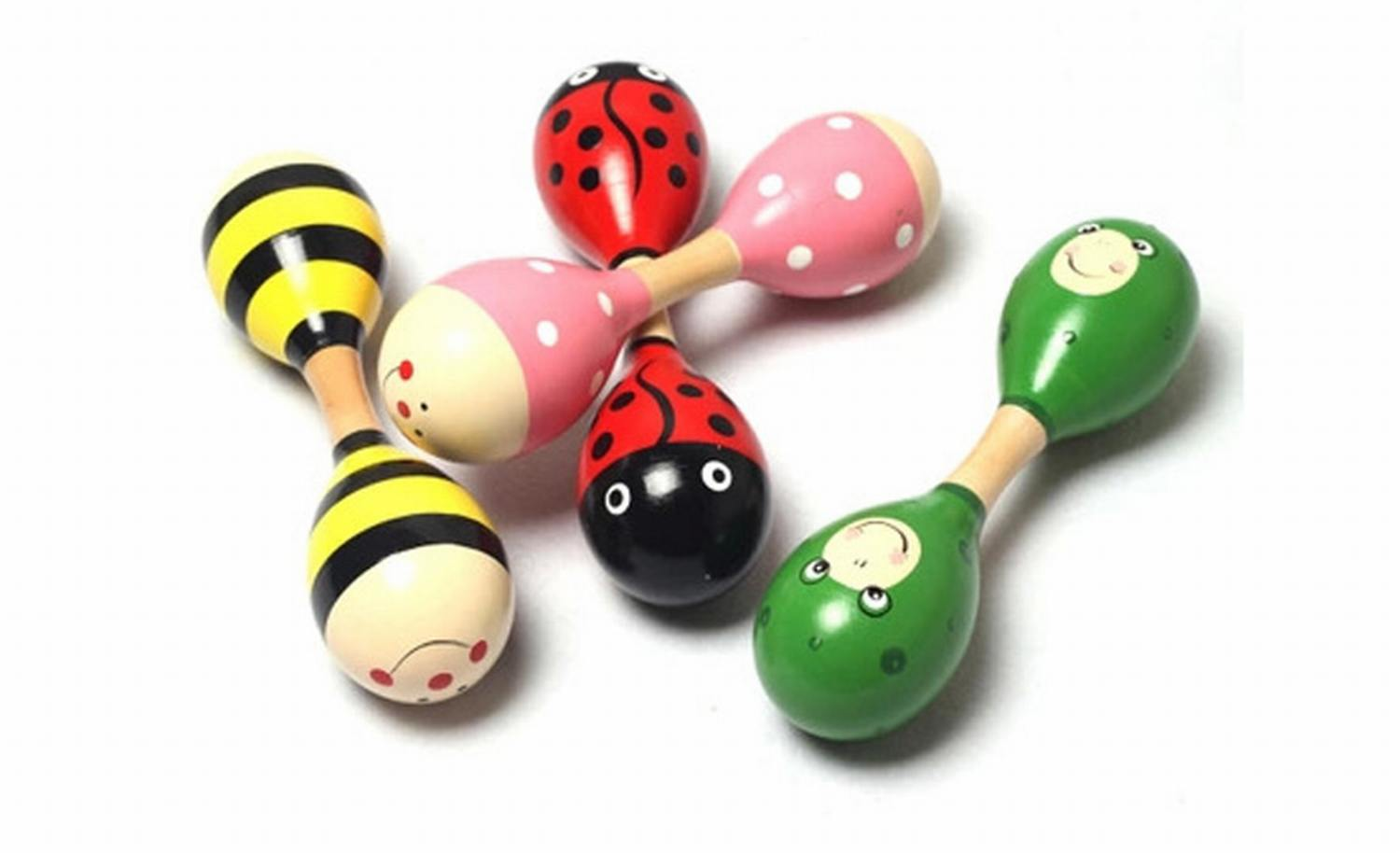 14.5cm Classic Wooden Rattle Bell Maracas Double Head Sand Hammer Percussion Musical Instruments Baby Children Educational Toys