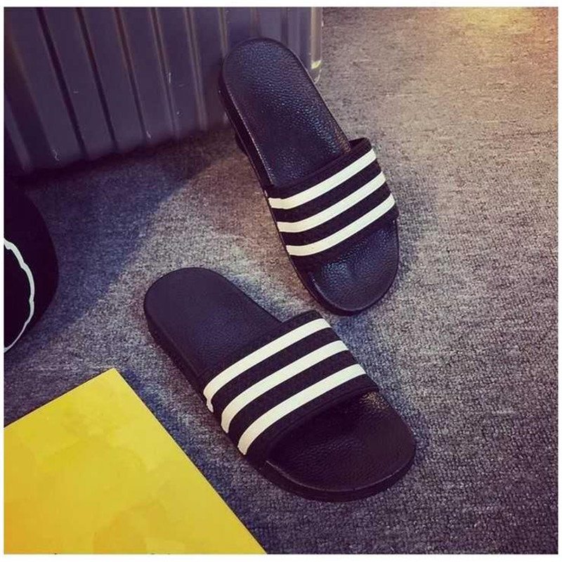 Woman Striped Sandals Outdoor Shoes Bathroom Home Non-slip Slippers Flip-flops Slides Cute Slippers Flat Sandals Women