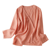 Women's Blouses 100% Linen Chinese Style Solid V-Neck Blusas Mujer De Moda 2020 Verano Elegantes Full Sleeve Solid new