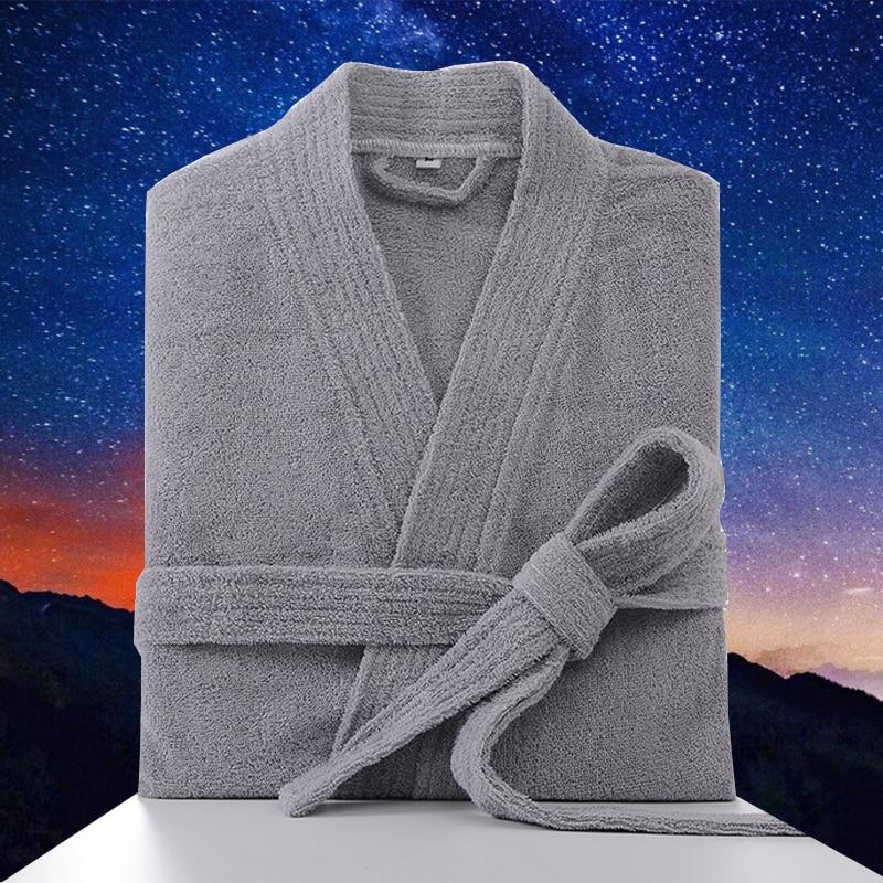 Men's Robe 100% Cotton Warm Bathrobe Thick Length Plush Shawl Bathrobe Kimono Home Clothes Long Sleeved Robe Coat peignoir homme