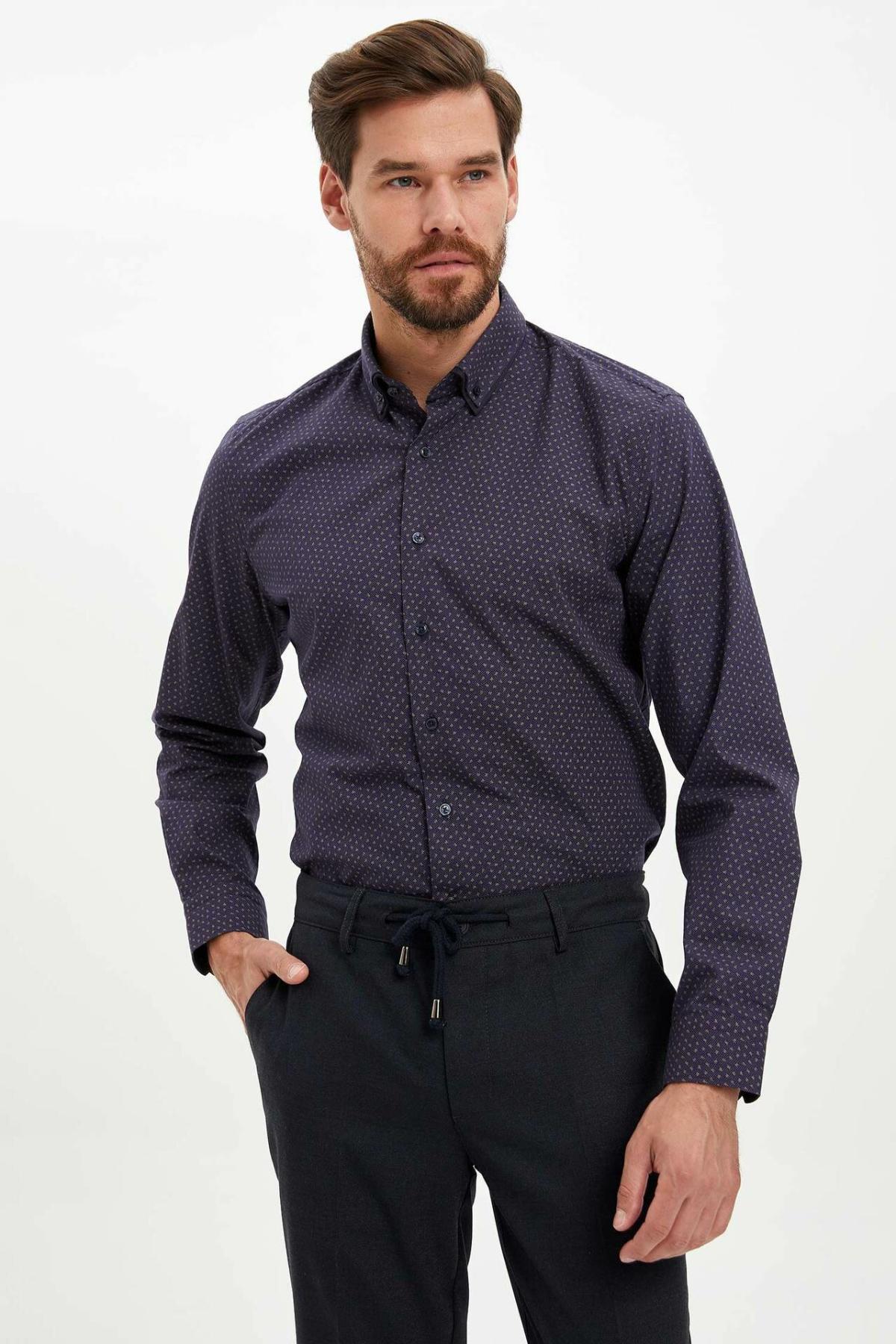 DeFacto Man Autumn Dark Color Top Shirts Men Smart Casual Prints Shirts Male Long Sleeve Shirt-L5807AZ19AU