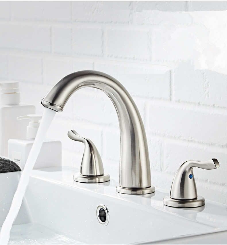 Widespread Basin Faucet Chrome Three Hole 8 Inch Bathroom Sink Faucet Bathroom Basin Faucet Sink Tap Basin Mixer Water Tap Basin Faucets Aliexpress