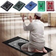 Alfombra de oración musulmana de poliéster esteras trenzadas portátiles simplemente imprimir con brújula en bolsa de viaje casa nuevo Estilo Manta
