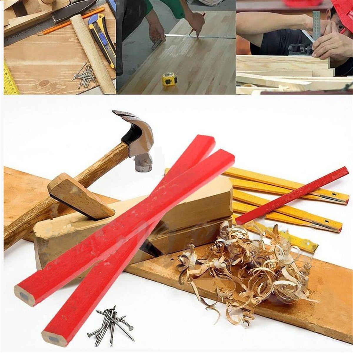 10Pcs 175 Mm Standar Pensil Tukang Kayu Kayu Hitam Tukang Kayu Pensil Kayu Elliptical Pensil