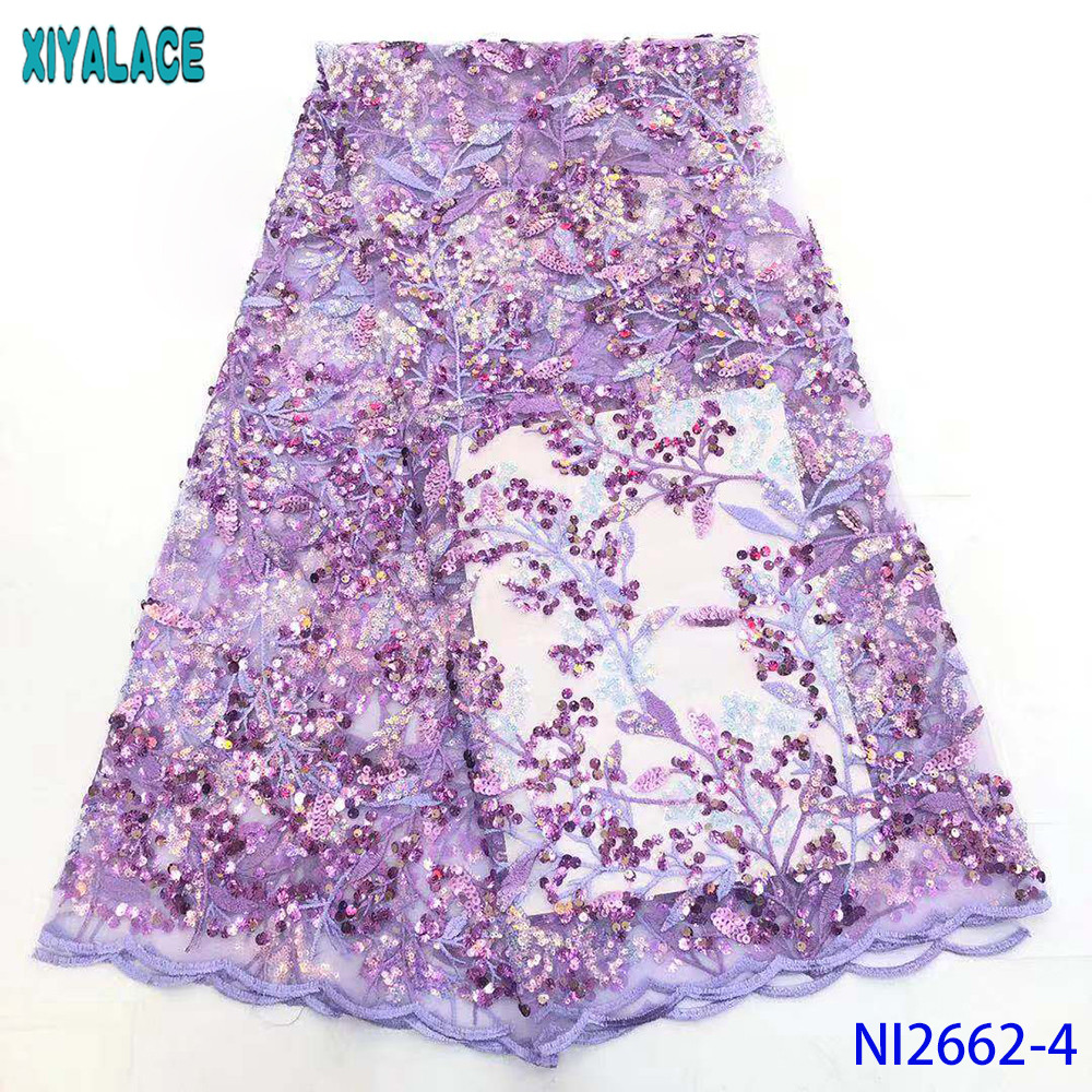 Latest African Lace Fabric 2019 High Quality Lace French Net Fabric Nigerian Sequins Fabrics Laces For Dress KSNI2662