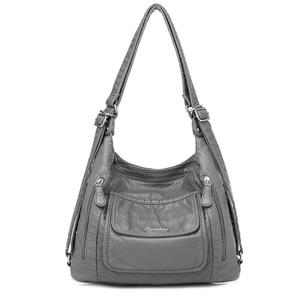 Image 1 - Hot Leather Luxury Handbags women bags designer Multifunction Shoulder Bags for Women 2020 Travel Back Pack Mochila Feminina Sac