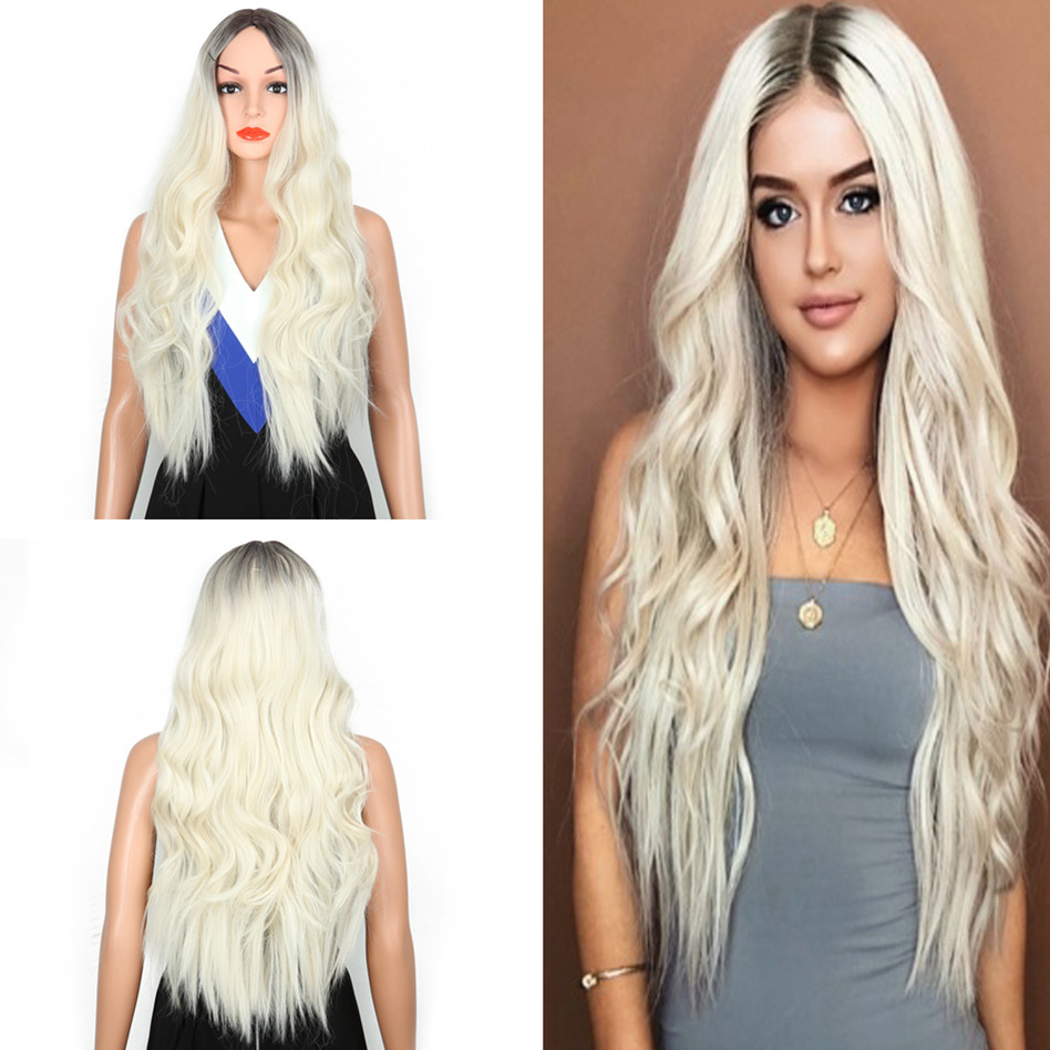 SHUOHAN 70cm Synthetic Wavy Ombre Wig For Women Black Blonde Blond Heat Resistant High Temperature Fiber Long Cosplay SX8802