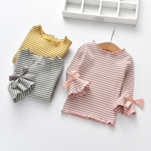 Хлопковая Детская футболка с длинными расклешенными рукавами; сезон весна-осень; рубашки для девочек; топы для маленьких девочек; детские блузки в полоску с принтом