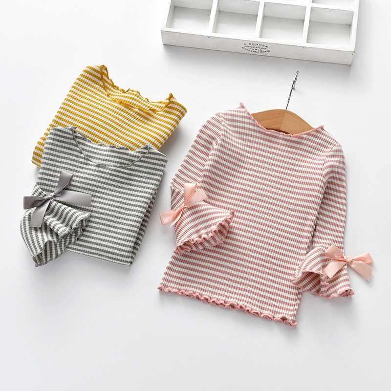 Cotton Long Flare Sleeve Children\'s T-Shirt Spring Fall Girls Shirts Girl Kids Baby Toddler Tops  Kids Striped Printed Blouses