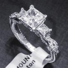 все цены на Luxury Women Square White Cubic Zirconia Ring Engagement Wedding Rings for Female Gifts Jewelry