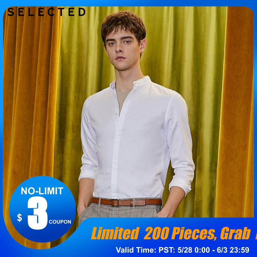 SELECTED Slim Fit 100% Cotton Stand-up Collar Long-sleeved Shirt S|419105540