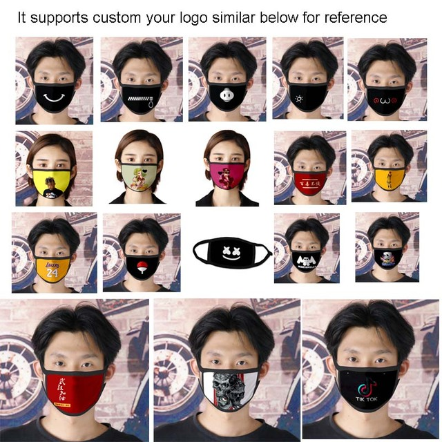 10pcs a lot Custom Adult/Kids Mouth Mask 3D Digital Printing LOGO mask Windproof Mouth-muffle bacteria proof Flu Face masks Care 2