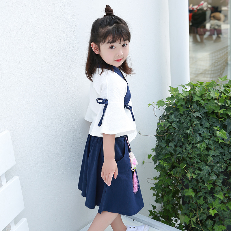 2019 Spring And Summer New Products Childrenswear Girls Chinese Clothing Chinese-style Suit Skirt Ethnic-Style Retro Two Case Sa